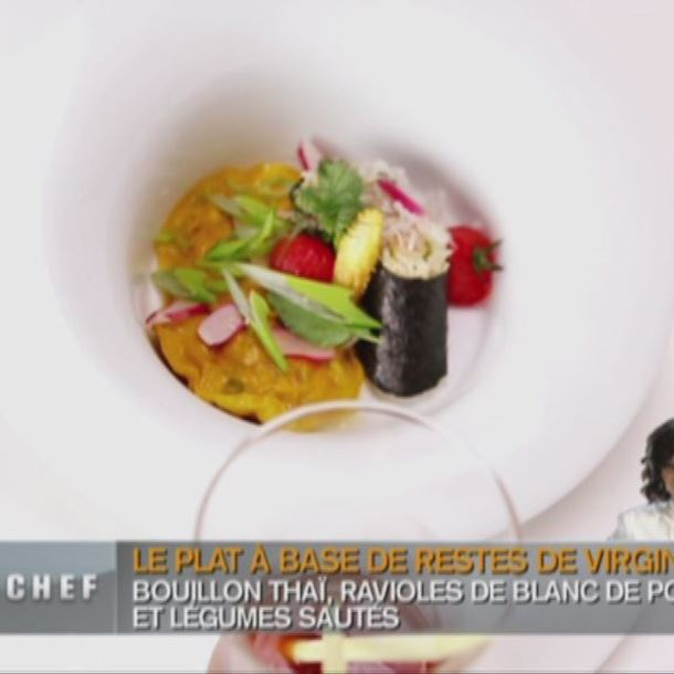Recette raviole et maki de poule, condiment poire, bouillon thaï