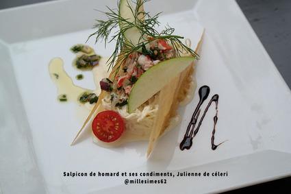 Recette de salpicon de homard et ses condiments, julienne de céleri