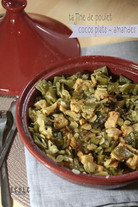 Recette de tajine poulet, amandes et cocos plats