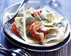 Recette ravioles au duo de crabe et langoustine