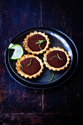 Recette de tartelettes au chocolat, gingembre et citron vert