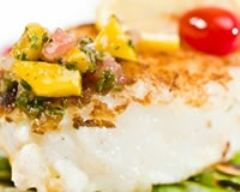Recette flétan grillé à la mangue et sauce basilic