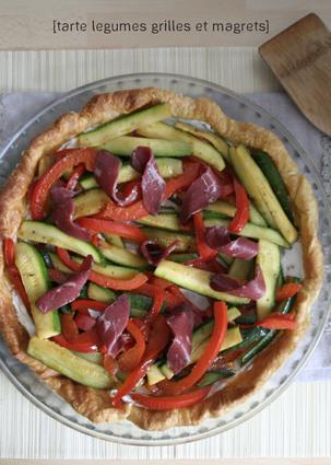Recette de tarte fine aux légumes grillés et tranches de magret