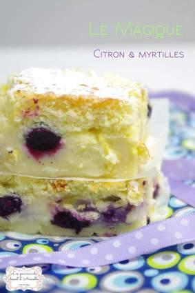 Gâteau magique citron et myrtilles