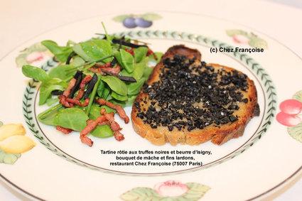 Recette de tartine rôtie aux truffes noires et beurre d'isigny, bouquet ...