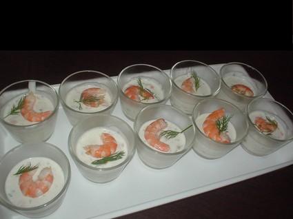 Recette de verrines aux dés de saumon et crevettes