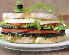 Recette sandwich tomate, mozzarella et aubergines