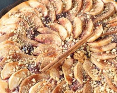 Recette tarte minceur aux pommes et rhubarbe