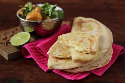 Recette de cheese naan la vache qui rit et curry de poulet