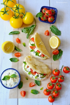 Tzatziki en pain pita, concombre, tomates & feta