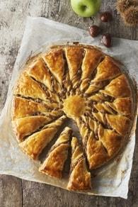 Recette de tarte soleil aux marrons et pommes