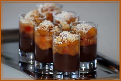 Recette de verrines au chocolat noir, compote de mirabelles