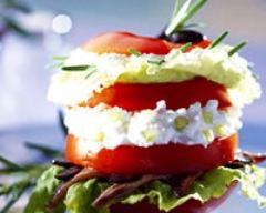 Recette mille-feuilles chèvre-tomates