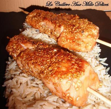 Recette de brochettes de saumon, miel & sésame