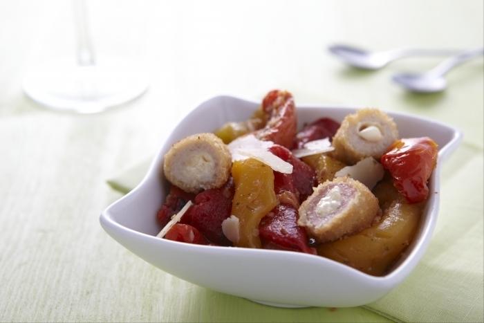 Recette de salade de duo, parmesan, tomates confites et poivron ...