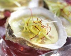 Recette huîtres pochées aux poireaux et au safran