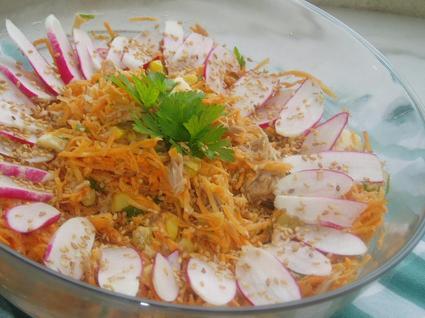 Recette de salade de carottes au thon, vinaigrette à l'orange
