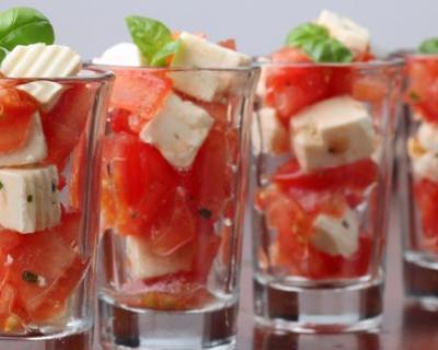 Recette verrines de tomates mozzarella