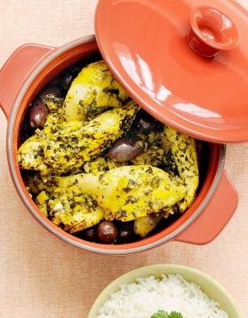 Poulet citron confit et olives en cocotte pour 4 personnes