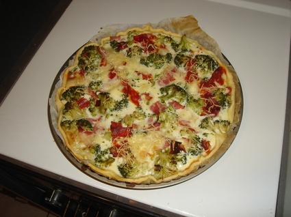 Recette de tarte aux brocolis relevée au chorizo