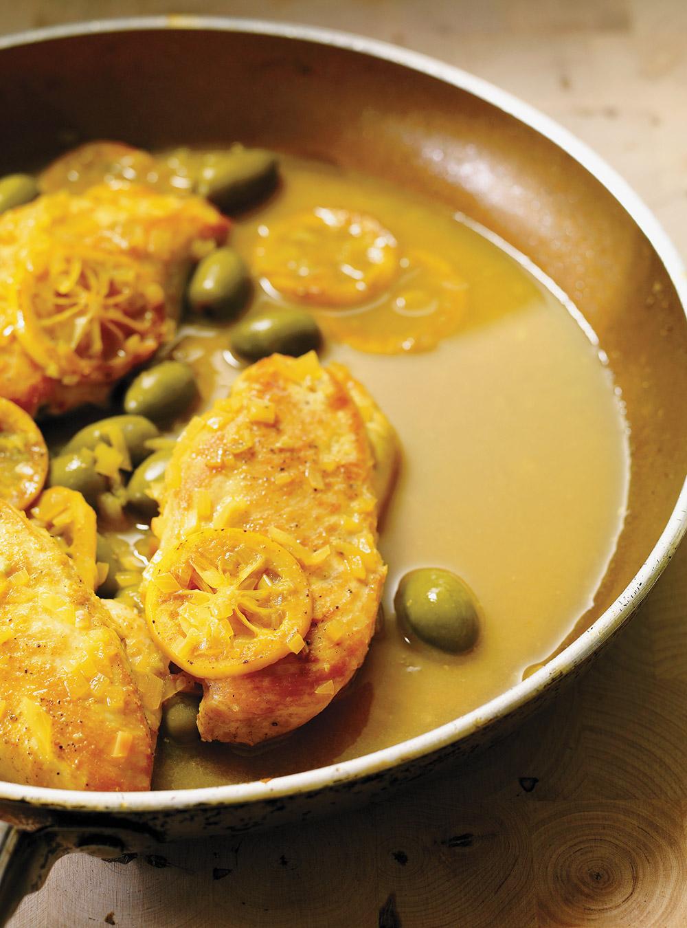 Poulet aux olives et au citron grillé | ricardo