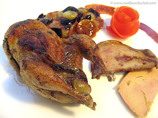 Caille aux raisins et foie gras  notre recette illustrée ...