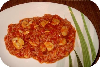 Recette de riz à la sauce tomate et champignons