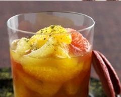 Recette soupe d'agrumes et thé vert matcha