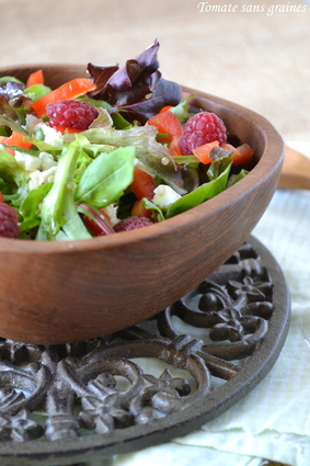 Recette de salade quinoa-mesclun-framboises