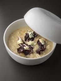 Recette de risotto, radicchio, raisins blonds, saint agur