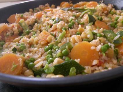 Recette de riz complet aux petits légumes