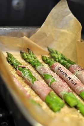 Recette asperges rôties, coppa et parmesan