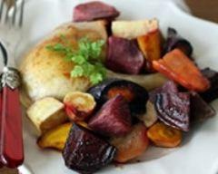 Recette volaille fermière aux légumes multicolores