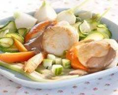Recette salade tiède de saint-jacques aux légumes nouveaux