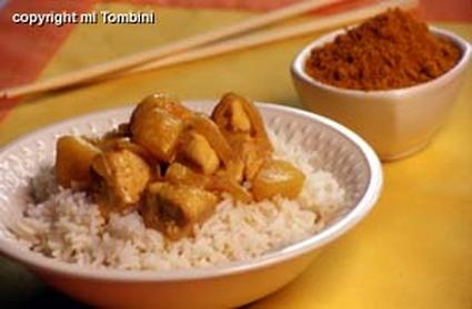 Recette de poulet au curry sur lit de riz