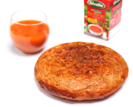 Recette de gazpacho alvalle accompagné de sa tortilla rouge