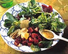 Recette salade de mâche et de betteraves aux moules