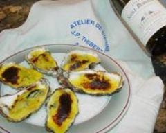 Recette huîtres chaudes gratinées aux échalotes confites