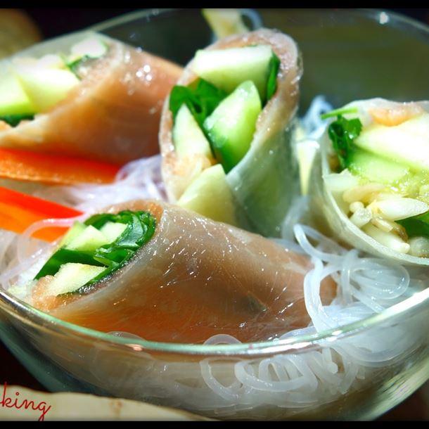 Recette rouleaux de printemps pomme saumon