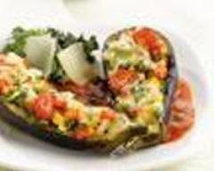 Recette aubergines cuites au four, farcies de légumes grillés et ...