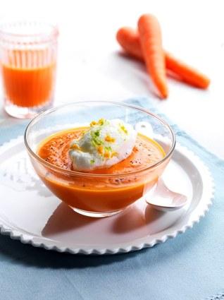 Ile flottante revisitée, velouté de carottes à la vanille et oeuf à la ...