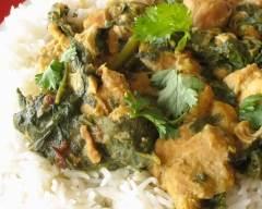Recette poulet et épinards au cari pour mijoteuse