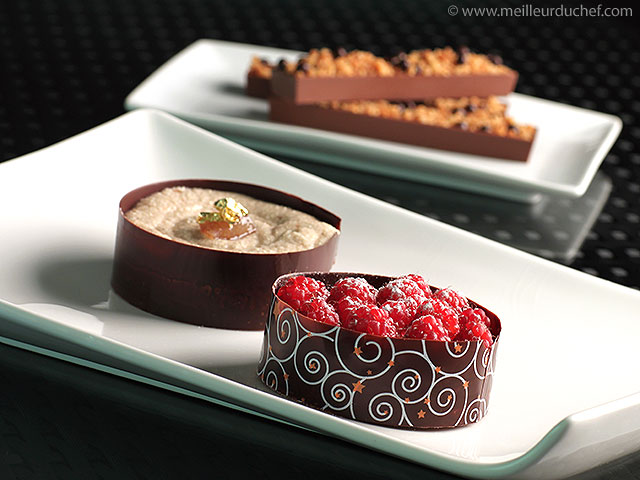 Tartelettes en déclinaison chocolat/framboise et chocolat/crème de ...