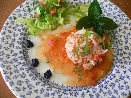 Recette de salade de crabe en vinaigrette de tomates
