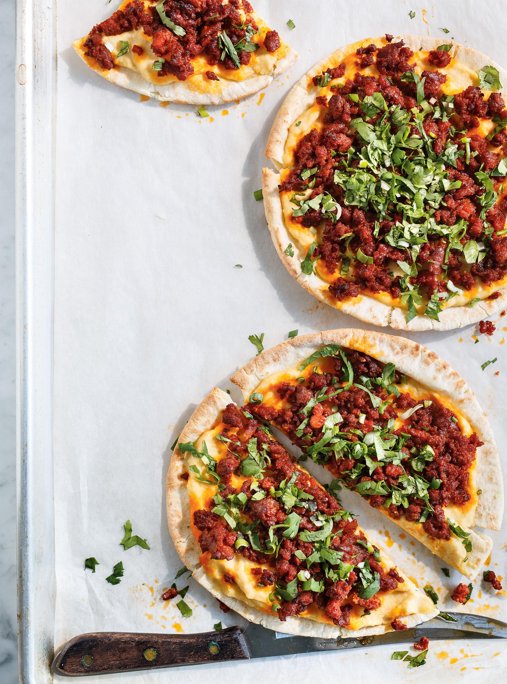 Pizza merguez et hummus | ricardo