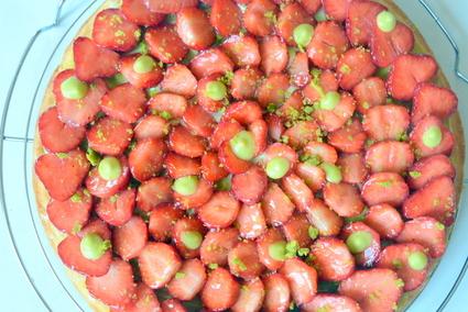 Recette de tarte fraise-pistache sur sablé breton