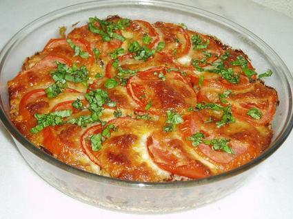 Recette de gratin de riz aux tomates et mozzarella