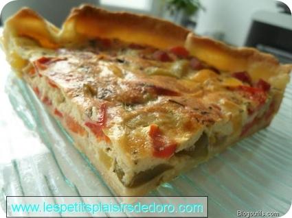 Recette de tarte aux poivrons, chèvre et jambon