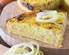 Recette quiche sans pâte oignons et jambon toute simple