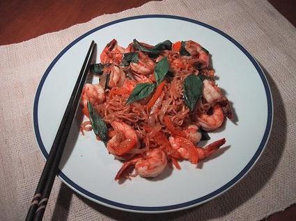 Recette de nouilles sautées aux crevettes et gingembre